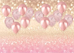 Haboke 8x6ft Durable/Soft Fabric Rose Gold Party Decorations Pink Balloon Gold Glittter Bokeh Photo Backdrop for Birthday Baby Bridal Shower Bachelorette Party Supplies Photography Background Props