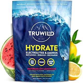 TRUWILD Hydrate Electrolyte + Amino Acids Drink Mix Powder | Clean Post Workout Recovery & Immune Supplement | Vitamin C, ...