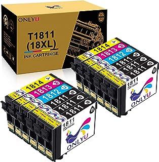 ONLYU Reemplazo de Cartuchos de Tinta compatibles para Epson 18XL T1811-T1814 para Epson Expression Home XP-202 XP-205 XP-212 XP-215 XP-225 XP-302 XP-305 XP-315 XP-325 XP-402 XP- 405 (Paquete de 12)