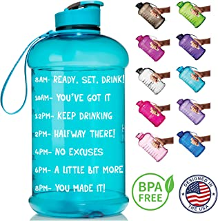 HydroMATE Half Gallon Motivational Water Bottle with Time Marker Large BPA Free Jug with Handle Reusable Leak Proof Bottle Time Marked to Drink More Water Daily 64oz