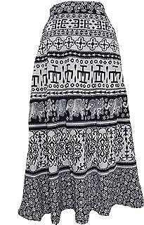 Krystle Women's Jaipuri Black Print Self Design Flared Long Skirt
