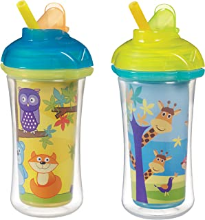 Munchkin Click Lock Insulated Straw Cup, Giraffe/Forest, 9 Ounce, 2 Count