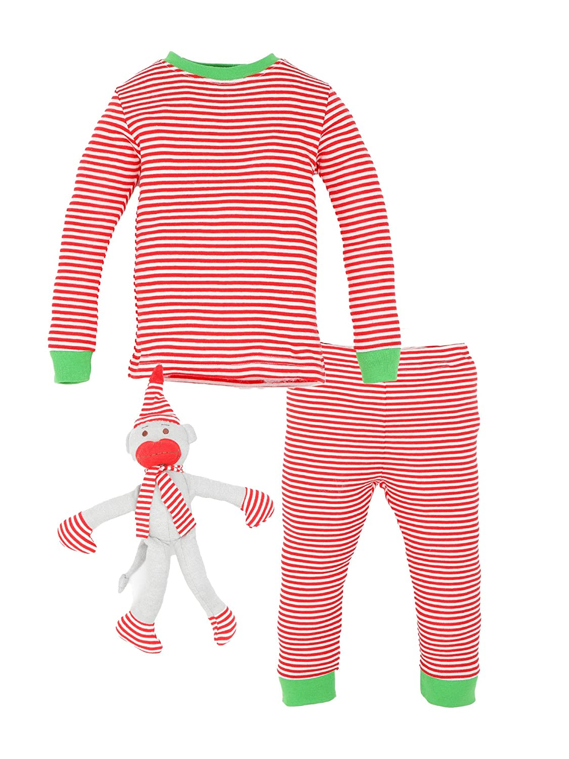 Under The Nile Organic Cotton Toddler Holiday Candy Cane Stripe Long Johns and Monkey, 12 Months