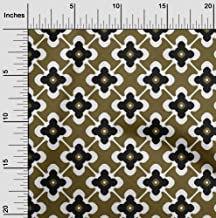 oneOone Velvet Dark Olive Green Fabric Floral & Tiles Moroccan Fabric for Sewing Printed Craft Fabric by The Yard 58 Inch ...