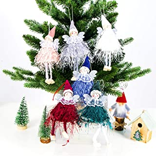 MADHOLLY 6pcs Christmas Woolen Dancing Angels Decor- Xmas Lace Wings Angel Doll Pendant Tree Hanging Ornaments Christmas E...
