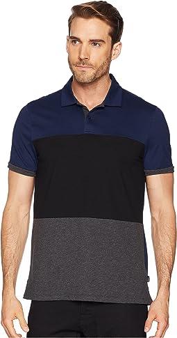 Short Sleeve Color Blocked Self Collar Polo