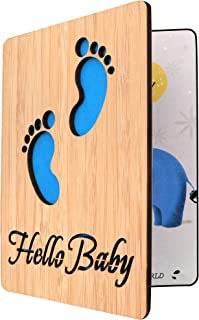 Handmade Real Bamboo New Baby Congratulations,Baby Shower Card Boy(Tiny Feet)
