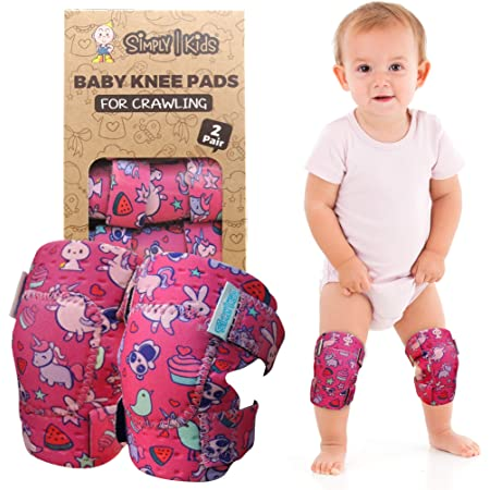 Adjustable Velcro Anti-Slip Design Toddler Crawling Protection Baby Knee Pads Boys and Girls Colors by Bonka Baby 4pack