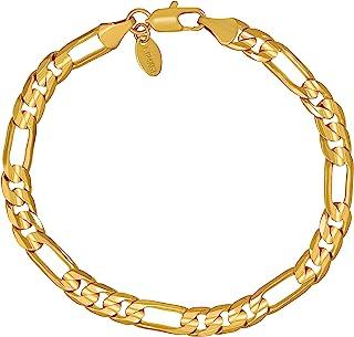 سوار سلسلة فيجارو 7 مم من لايف جولري، مطلي بالذهب عيار 24 قيراط للرجال والنساء
