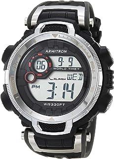 ساعة رياضية من ارمترون بسوار من البلاستيك المطاطي للرجال، لون اسود، 20 موديل (40/8458GBK)