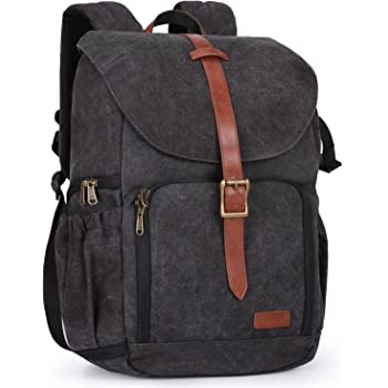 """BAGSMART Camera Backpack, Anti-Theft DSLR SLR Camera Bag Water Resistant Canvas Backpack Fit up to 15"""" Laptop with Rain Cover, Tripod Holder for Women and Men, Black"""