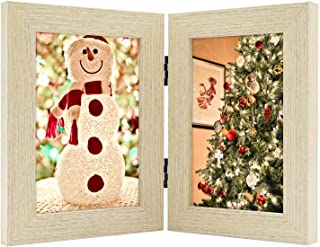 Golden State Art, Decorative Hinged Table Desk Top Picture Photo Frame, 2 Vertical Openings, 4x6 inches with Real Glass (4x6 Double, Beige)