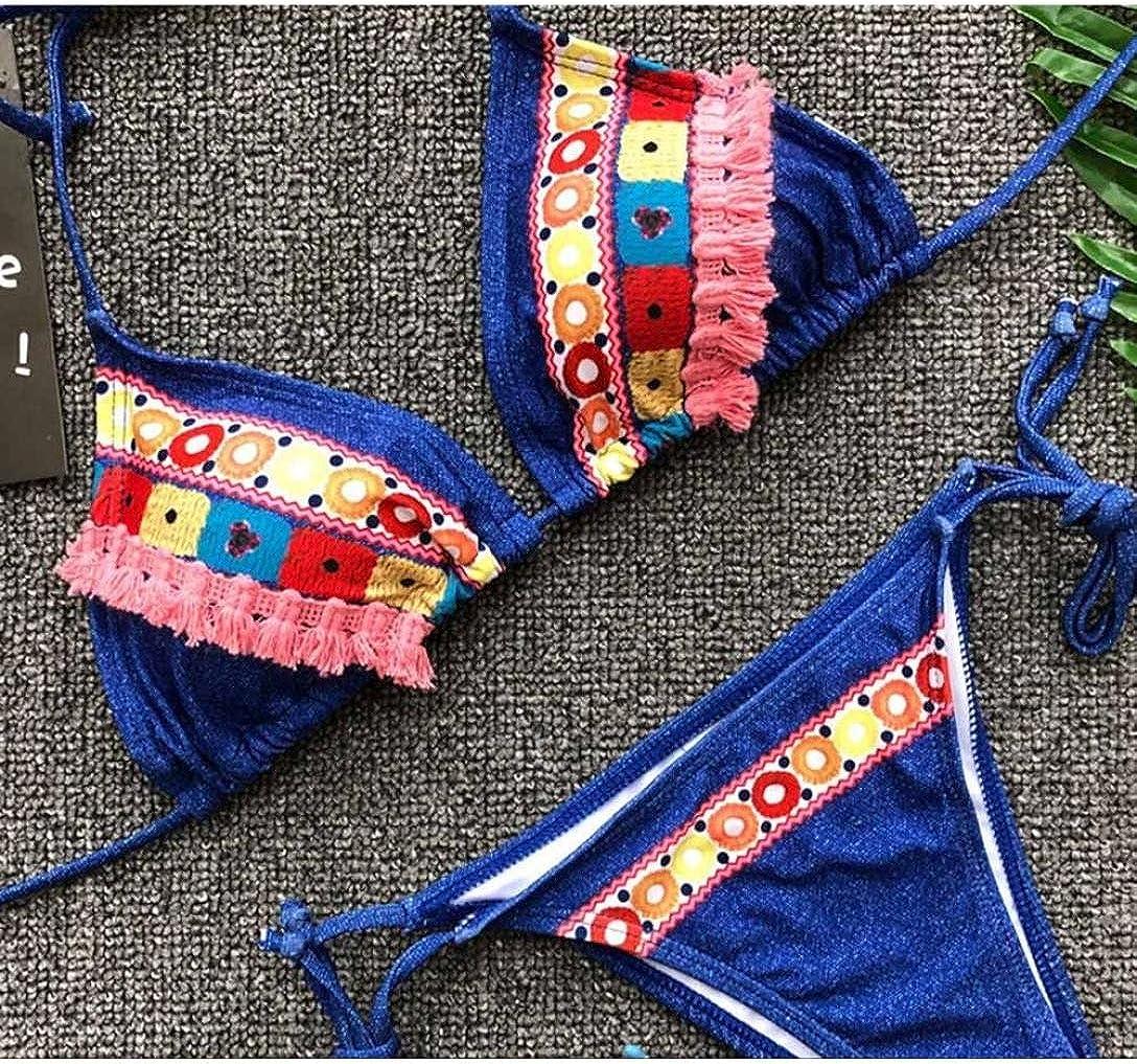 HOMEBABY Women Floral Print Push-Up Padded Bra Thong Bikini Set 1Set Ladies Girls Brazilian Bathing Swimsuit Vintage Bathing Suit Swinwear Beachwear Swimsuit