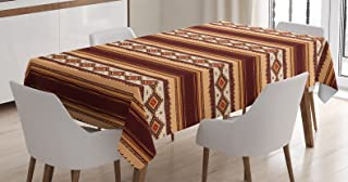 Ambesonne Native Tablecloth, Native Indigenous Pattern Primitive Country Theme, Dining Room Kitchen Rectangular Table Cover, 60