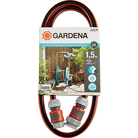 GARDENA Connection Set Comfort FLEX, 13 mm (1/2 Inch), 1.5 m: Hose adapter for hooking up the hose trolley, high-quality hose with quick couplings and a tap connector, 25 bar burst pressure (18040-20)