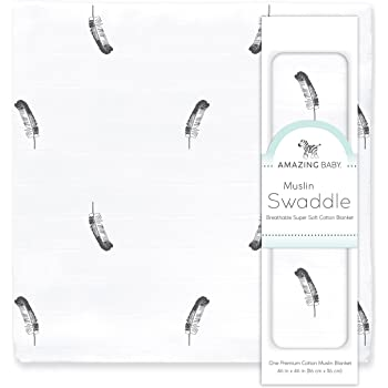 Amazing Baby Muslin Swaddle Blanket, Premium Cotton, Little Feather, Gray & Soft Black