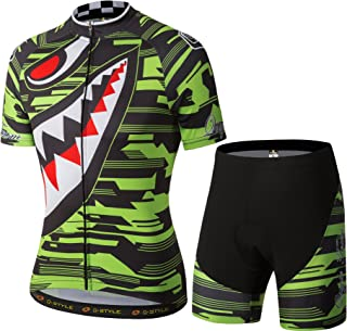 YUWELL Men's Polyester Cycling Jersey Sharp Tooth Design Short Sleeve Bike Wear Jersey Breathable Quick Dry Green
