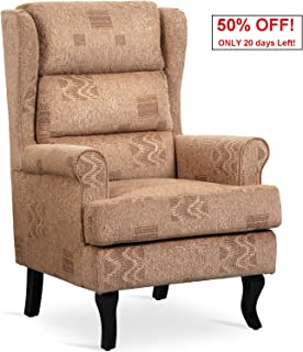 Arm Wingback Chairs 400lb Heavy Duty,JULYFOX Contemporary Accent Chair High Back with Removable Thick Padded Cozy Seat Cushions Pine Wood Frame for Living Room Club Bedroom Brown