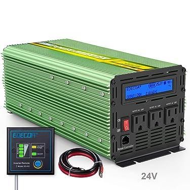 EDECOA 24V Pure Sine Wave Power Inverter 2000W DC 24V to 120V 110V with LCD Display Remote Controller