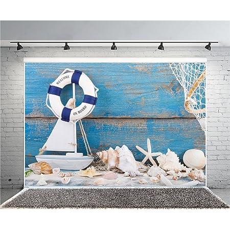 5x5FT Vinyl Backdrop Photographer,Dolphin,Nautical Life Theme Background for Baby Birthday Party Wedding Graduation Home Decoration
