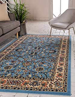 Unique Loom Kashan Collection Traditional Floral Overall Pattern with Border Light Blue Area Rug (4' 0 x 6' 0)
