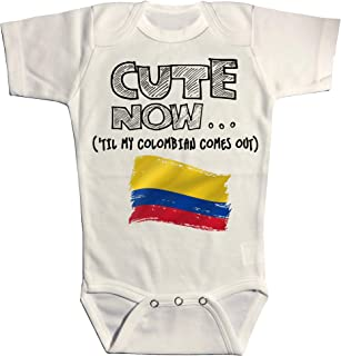 Cute Now Baby Colombia Bodysuit Til My Colombian Comes Out Country Pride Baby/Infant Jumpsuit in White Pick Size NB-18M