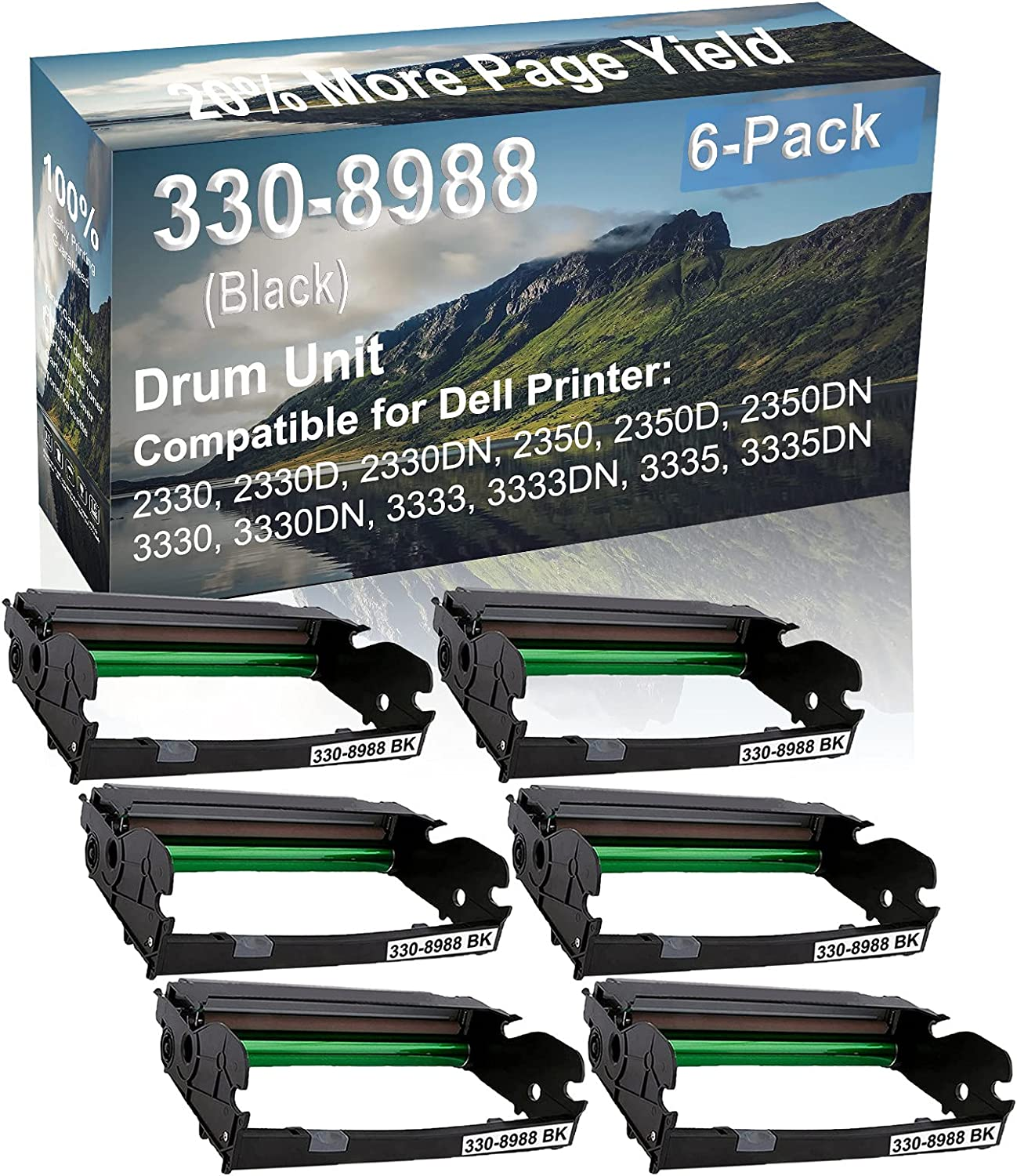6-Pack Compatible Drum Unit (Black) Replacement for Dell 330-8988 Drum Kit use for Dell 3333, 3333DN, 3335, 3335DN Printer