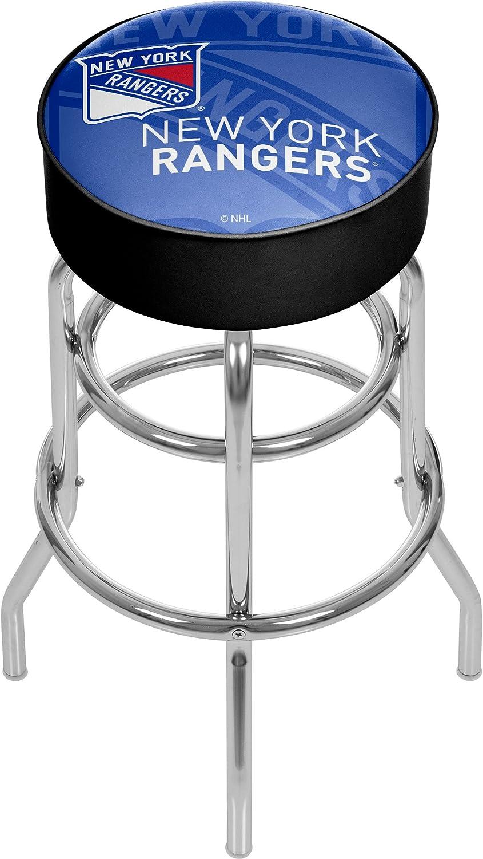 Trademark Gameroom NHL1000NYRWM NHL Chrome bar Stool with Swivel  Watermark  New York Rangersa