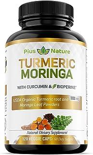 120 Capsules of USDA Organic Turmeric Root Powder and USDA Organic Moringa Leaf Powder with Curcumin and Bioperine, 1100mg...