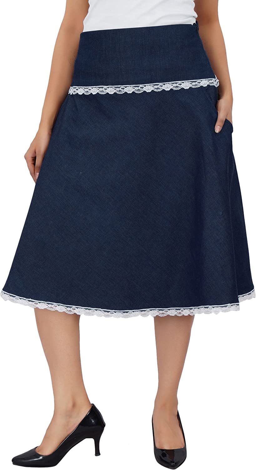 Bimba Women Knee Length Denim Skirt with Lace Detail Casual Chic A-Line Skirts