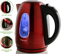 Ovente 1.7 Liter BPA-Free Stainless Steel Cordless Electric Kettle, 1100-Watts, Auto Shut-Off and Boil-Dry Protection, Matte Black Cool-Touch Handle, Red (KS96R)