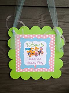 1 - Door Sign - Bubble Guppies Inspired Happy Birthday Collection - Pale Pink Polka Dots, Baby Blue Glitter Background & Lime Green, Lavender and White Accents - Party Packs Available
