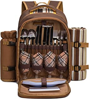 apollo walker Picnic Backpack Bag for 4 Person with Cooler Compartment,Wine Bag, Picnic Blanket(45