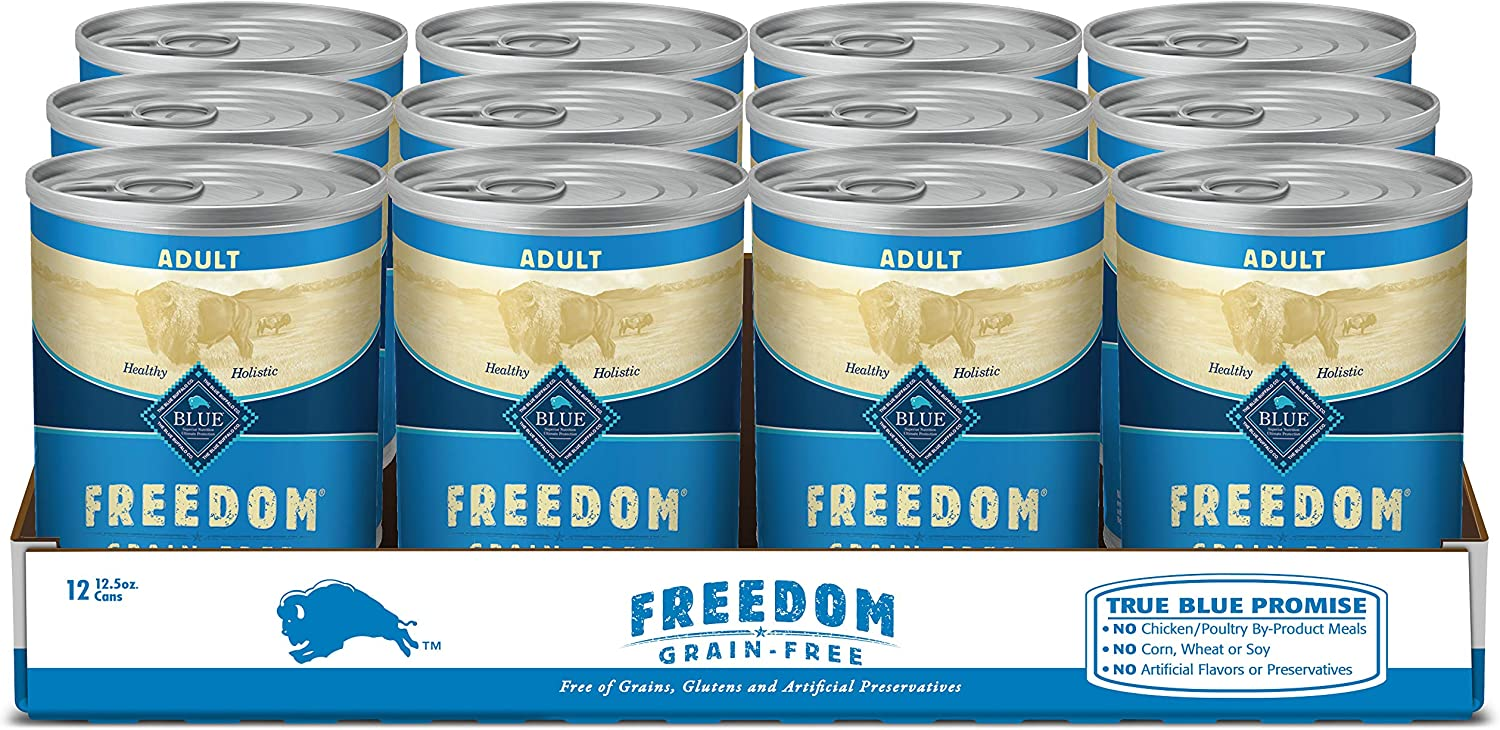 Blue Buffalo Freedom Grain Free Natural Adult Wet Dog Food, 12.5 oz can (Pack of 12)