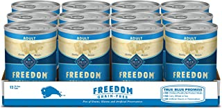 Blue Buffalo Freedom Grain Free Natural Adult Wet Dog Food, 12.5 oz cans (Pack of 12)