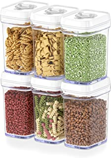 DWËLLZA KITCHEN Airtight Food Storage Containers with Lids - 6 Piece Set/All Same Size - Medium Air Tight Snacks Pantry & ...