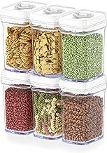 DWËLLZA - Recipientes herméticos de almacenamiento de alimentos con tapas herméticas - Juego de 6 piezas - Todos los mismos tamaños - Apretados de aire medio apretados para aperitivos y cocina - Plástico transparente sin BPA - Mantiene los alimentos frescos y secos