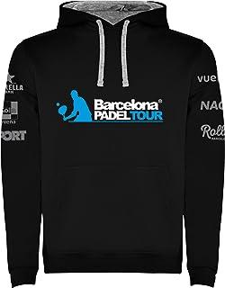 Barcelona Padel Tour | Sudadera para Hombre con Capucha Bicolor, Bolsillo Canguro y Estampación Especial de Pádel | Ropa D...