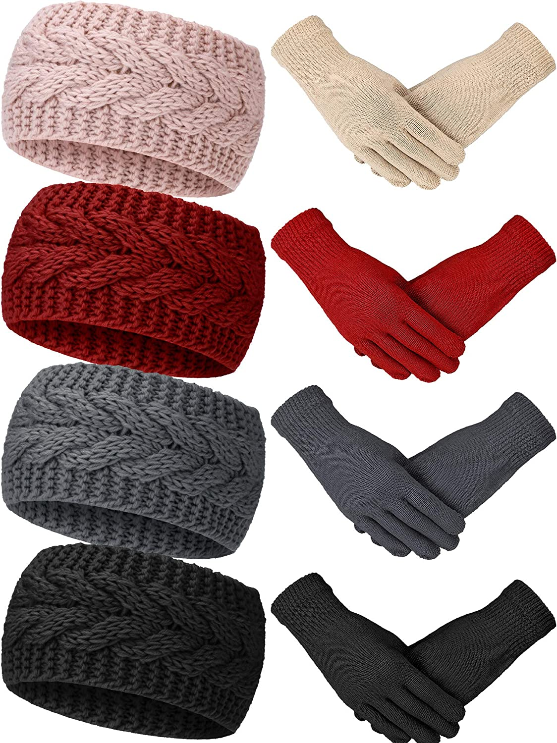 8 Pieces Manufacturer regenerated product Cable Knit Headbands Head Wraps Complete Free Shipping Crochet Gloves and