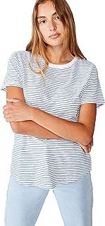 Cotton On Women's Short Sleeve One Crew T-shirt, Josie Stripe White/Captains Blue Marle