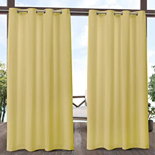 Exclusive Home Curtains Biscayne Indoor/Outdoor Two Tone Textured Window Curtain Panel Pair with Grommet Top, 54x96, Butter