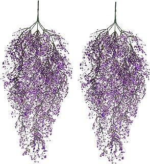 Siumir Hiedra Artificial Guirnalda Falso Hiedra Plantas Artificiales Colgar Plantas para Decoración de Bodas, Jardines, Oficina 2 PCS (74 cm) (Púrpura, 74)