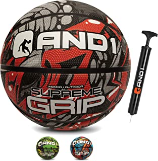 "AND1 Supreme Grip Rubber Basketball & Pump- Official Size 7 (29.5"") Streetball, Made for Indoor and Outdoor Basketball Games"