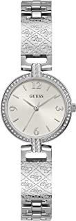 GUESS Women's Quartz Watch with Stainless Steel Strap, Silver, 14 (Model: GW0112L1)