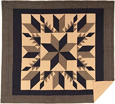 VHC Brands Bedding Lansing Cotton Pre-Washed Patchwork Star California King Quilt, Country Black