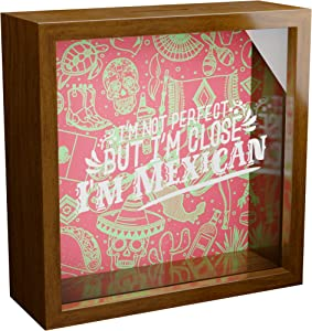 Made With Tone, Mexican Gifts | 6x6x2 Memorabilia Shadow Box with Glass Front | Mexico Decorations for Wall or Tabletop | Wooden Memory Box for Latin Decor | Great to Collect Special Mexican Items