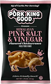 Pork King Good Pork Rinds (Chicharrones) (Himalayan Pink Salt & Vinegar, 4 Pack)