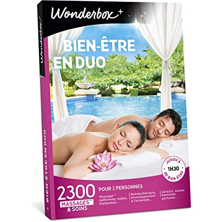 Wonderbox - Coffret cadeau - BIEN-ETRE EN DUO – 2300 massages, sauna, shiatsu, spa, hammam
