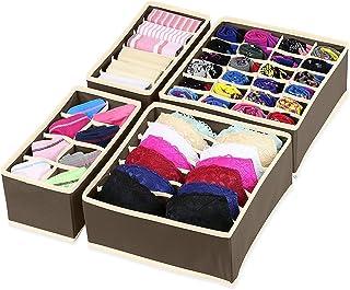 House of Quirk Set of 4 Foldable Storage Box Drawer Divider Organizer Closet Storage for Socks Bra Tie Scarfs - Brown