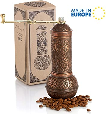 Coffee Grinder, Refillable Turkish Style Mill with Adjustable Grinder, Manual Coffee Mill with Handle, Antique Grinder Metal